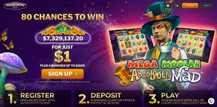 80 free chances on Mega Moolah (Microgaming)